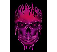 Flame Skull - Hot Pink (2) Photographic Print