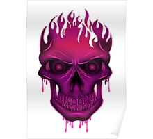Flame Skull - Hot Pink Poster