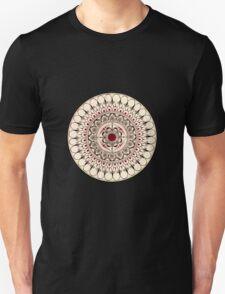 Hand Drawn Cream And Red Mandala T-Shirt