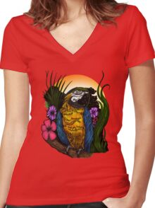 Tropical Parrot Women's Fitted V-Neck T-Shirt