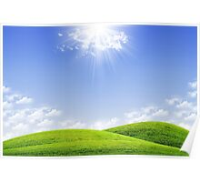 Green field and blue sky Poster