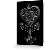 Heart Flower - Silver Greeting Card