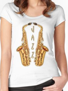 Jazz Saxophone Gold Women's Fitted Scoop T-Shirt