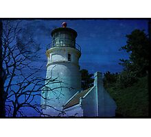 Lighthouse with Blue Moon Photographic Print