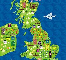 cartoon map of the UK by Anastasiia Kucherenko