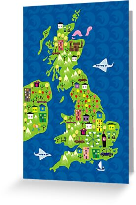 cartoon map of the UK by Anastasiia Kucherenko