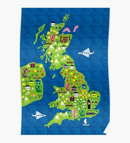 cartoon map of the UK Poster