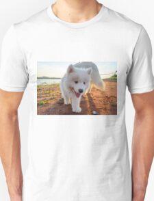 Samoyed puppy on the beach  T-Shirt