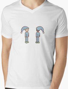 Pixel Person Sleepy Mens V-Neck T-Shirt