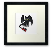 Toothless, Night Fury Inspired Dragon. Framed Print