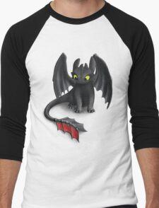 Toothless, Night Fury Inspired Dragon. Men's Baseball ¾ T-Shirt