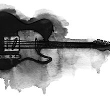black and white electric guitar by ulyanaandreeva