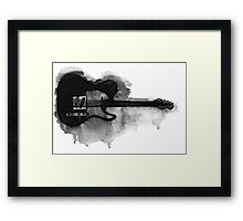 black and white electric guitar Framed Print