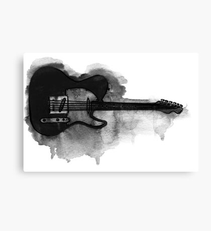 black and white electric guitar Canvas Print
