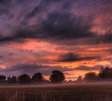 ~ Sunset sky over Oak Tree Cottage by Christopher Cullen