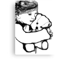 Girl And Bear Scribbler Canvas Print