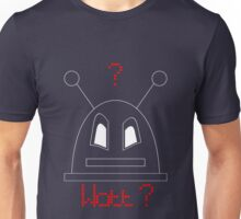 Robot (Watt? Angry eyes) White, Non-Filled face for darker backgrounds Unisex T-Shirt