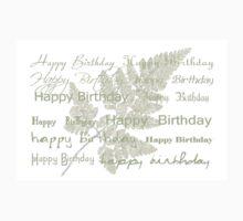 Happy Birthday Card Using Fern Frond One Piece - Long Sleeve