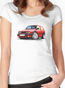 VW Golf GTi (Mk2) Red Women's Fitted Scoop T-Shirt