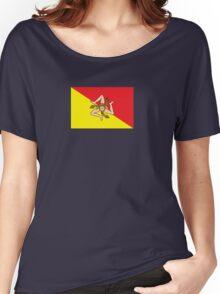 Sicilian Bandiera - Flag of Italian Island Sicily - T-Shirt Bedspread Women's Relaxed Fit T-Shirt