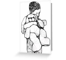 A Boy And His Rabbit Scribbler Greeting Card