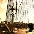 people and shadows of the Brooklyn Bridge by olga  hutsul