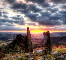 Sunset over Birchen Edge Peak District Derbyshire by Roy Childs
