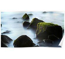 Mossy Rocks, Misty Water. Poster