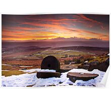 Stanage Sunset Peak District Poster
