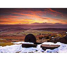 Stanage Sunset Peak District Photographic Print