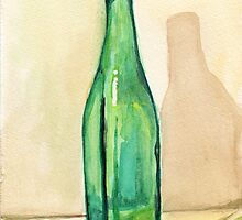 Green Glass Bottle by Amy-Elyse Neer