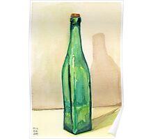 Green Glass Bottle Poster