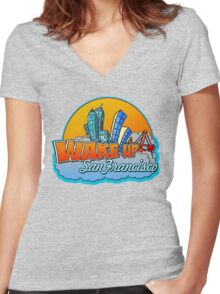 Wake Up San Francisco Women's Fitted V-Neck T-Shirt