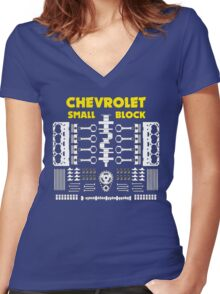 Chevrolet Small Block V8 Engine Parts  Women's Fitted V-Neck T-Shirt