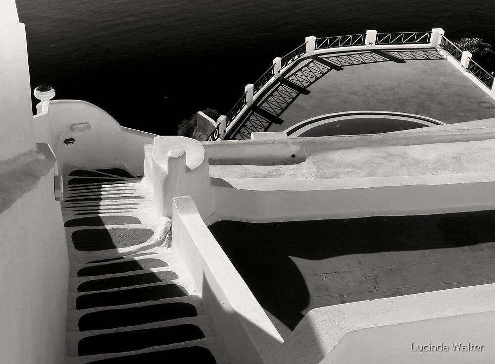 Steps, Walls, Shadows and Water ~ Black & White by Lucinda Walter