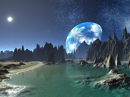 Earth-rise from an Alien Shore by SpinningAngel