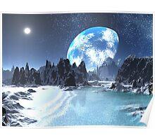 Winter Earth-rise over Alien Shores Poster