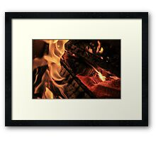 Black Logs and Flames Framed Print