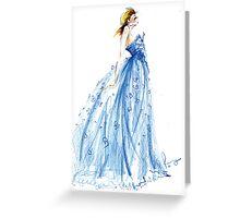 Blue Lace Dress Fashion Illustration Greeting Card