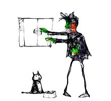 Brian the zombie remembers to feed the cat Photographic Print