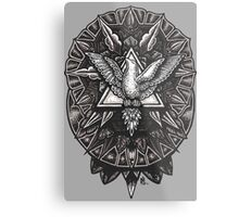Spirit Dove Trinity Geometry Mandala Metal Print