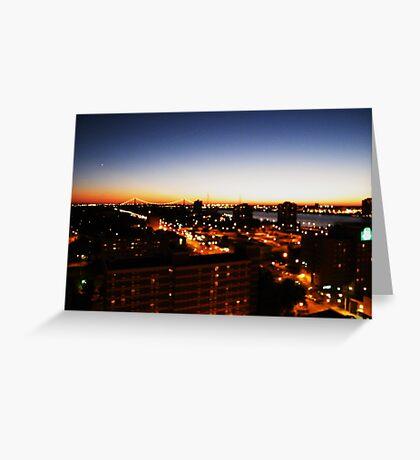 Windsor/Detroit Skyline at Sunset I Greeting Card