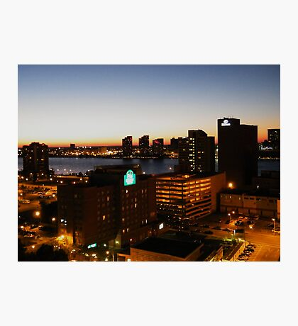 Windsor/Detroit Skyline at Sunset II Photographic Print