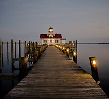 Roanoke Marshes Lighthouse At Dusk by David K. Sutton