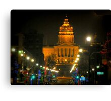 Des Moines Capital At Night Canvas Print