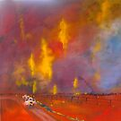 The fires ..  ..  ..  Victoria Australia   (from old photo) by Margaret Morgan (Watkins)