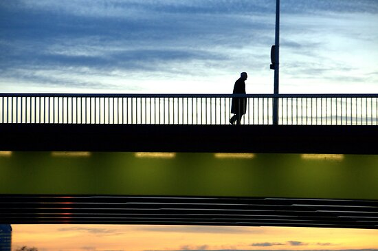 Paris -  Sunset Bridge. by Jean-Luc Rollier