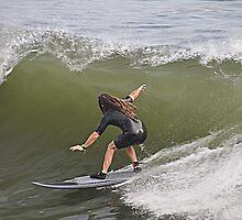 Nobby's Breakwall Surfer - Newcastle NSW Australia by Bev Woodman