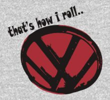 VW logo - that's how i roll... black & red text Kids Clothes