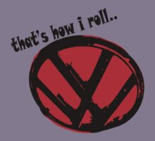 VW logo - that's how i roll... black & red text Kids Tee